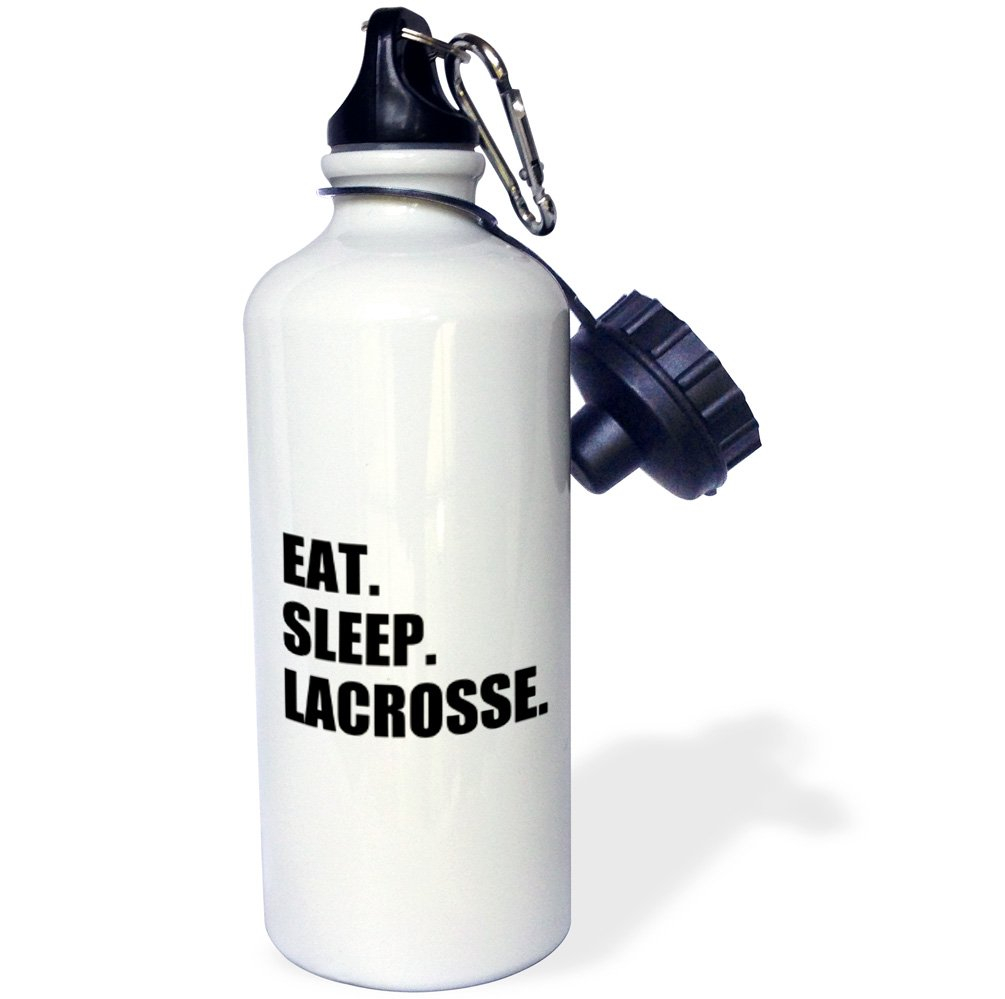 3dRose wb_180418_1 Eat Sleep Lacrosse - Gifts For Sport Enthusiasts Lax Crosse Black Text Sports Water Bottle, 21Oz, Multicolored