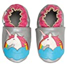 Momo Baby Infant/Toddler Unicorn Rainbow Silver Soft Sole Leather Shoes - 6-12 Months/3-4 M US Toddler