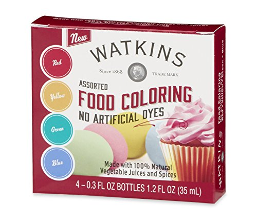 Watkins Assorted Food Coloring, No Artificial Dyes, Red/Yellow/Green/Blue, 1.2 Ounce