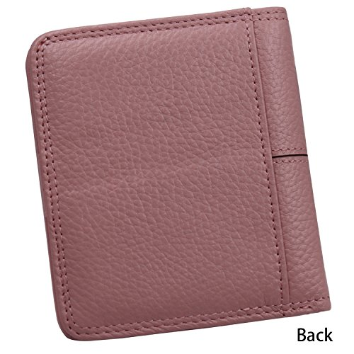 Women's Small Compact Bi-fold Leather Pocket Wallet Credit Card Holder Case with ID Card Window (New Pink) by ARRIZO (Image #1)