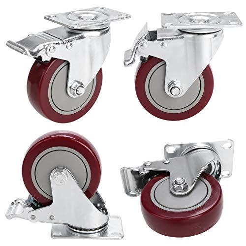 Homdox 4'' PVC Heavy Duty Swivel Caster Wheels Lockable Ball Bearing 300lbs Each (Set of 4)-Red