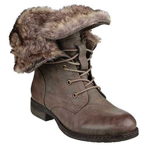 Ankle Lace Brown Boots Womens Divaz Leigh up Ladies qn4PXxT