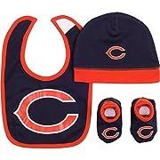 NFL Chicago Bears Cap, Bootie & Bib Set (3 Piece), 0-6 Months, Navy