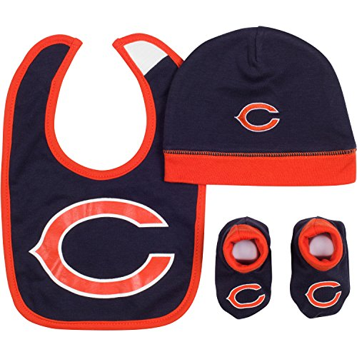 NFL Chicago Bears Cap, Bootie & Bib Set (3 Piece), 0-6 Months, Navy Chicago Bears Infant Apparel