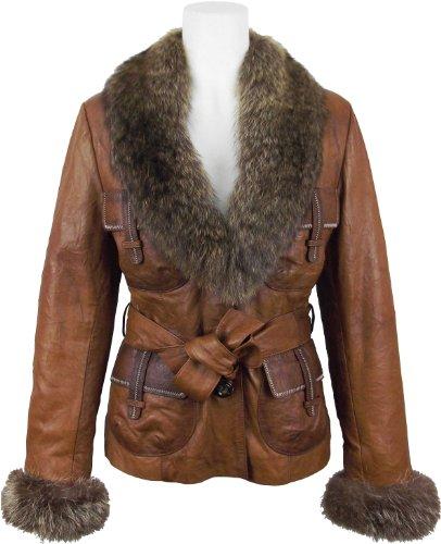 UNICORN Womens Luxury Leather Jacket (Real Raccoon fur Tr...