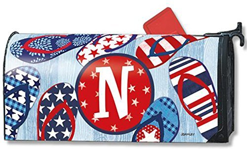 Mailboxcover Freedom Flip Flops Monogram N Magnetic Mailbox Cover Patriotic Summer Letter (Royal Mailbox)