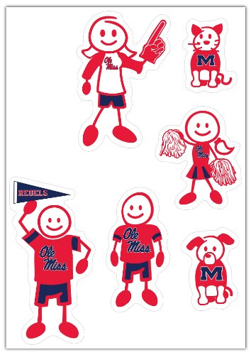 Siskiyou NCAA Mississippi Old Miss Rebels Small Family Decal Set