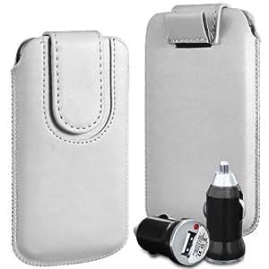 N4U Online Premium PU tirón del cuero del tirón del caso Tab cubierta de bolsa Con magnética Cierre de correa y cargador de coche USB para Motorola Defy - blanco