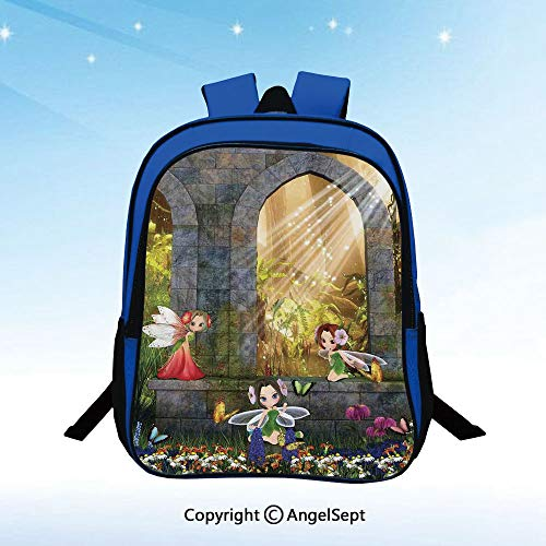 School Backpack Fairies Playing in the Ruins with Flowers Blossom Butterflies Fantasy Scene Unisex Classic Lightweight Water-resistant Backpack for Kids Schoolbag Travel Bookbag,Charcoal Green Red