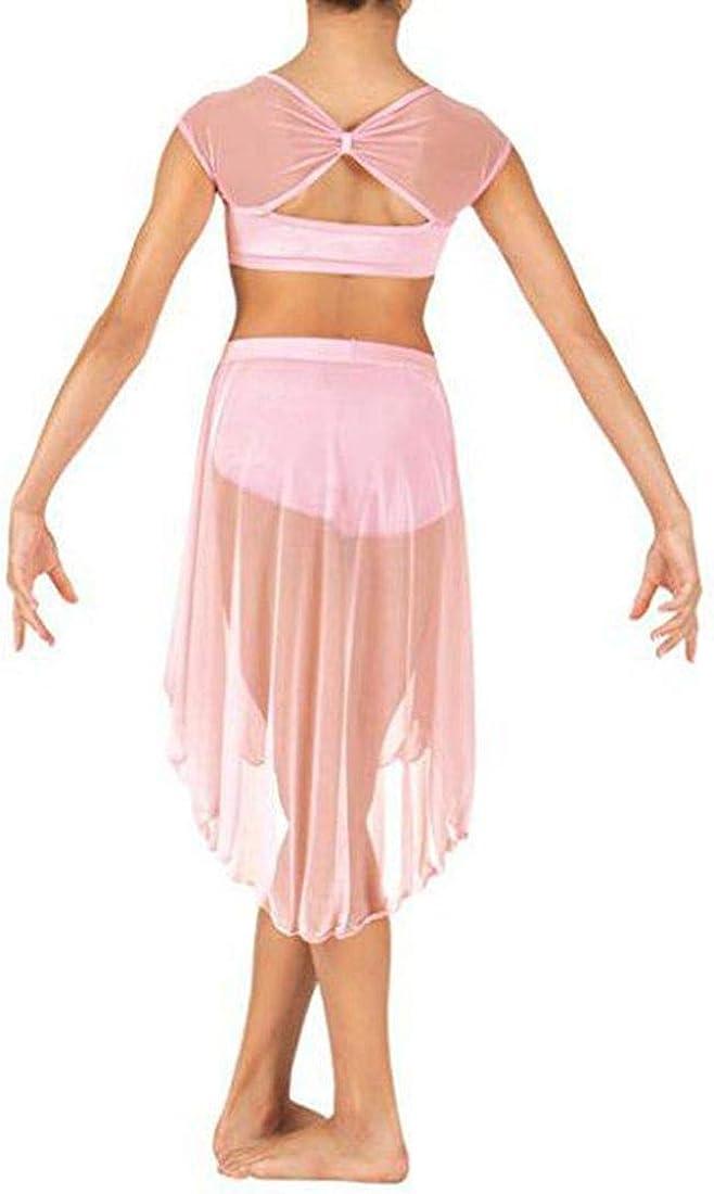 iiniim 2 Piezas Traje de Danza Ni/ña Crop Top Manga Corta Vestido de Danza Fiesta Ropa de Ballet Baile Gimnasia Actuaci/ón Conjunto de Deporte Camiseta Braga con Falda Irregular