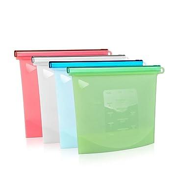 IDABAY Bolsas de almacenamiento de alimentos de silicona reutilizables Envase Versátil Ziplock Preservación de frutas Verduras Carnes Sello hermético ...