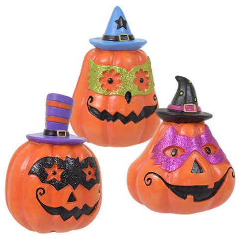 Halloween Glittery Whimsical Polyresin Jack-O-Lantern Decorations- Set of (Halloween Decorated Mantels)