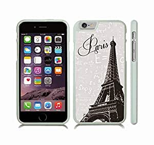 iStar Cases? iPhone 6 Plus Case with Eiffel Tower Photostamp, Paris Text on Grey Background with Physics Formulas , Snap-on Cover, Hard Carrying Case (White)