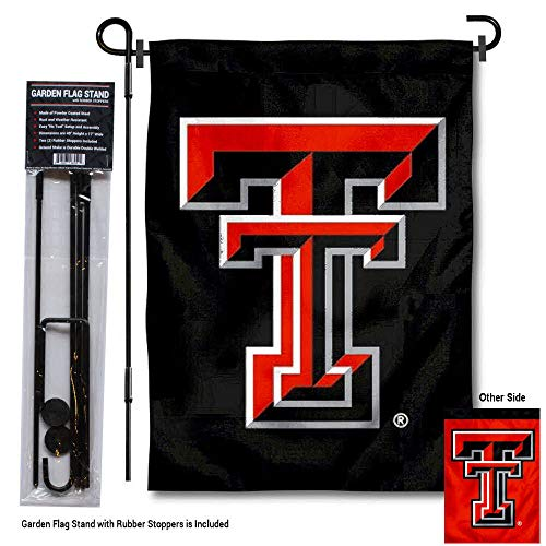 College Flags and Banners Co. Texas Tech Red Raiders Dual Logo Garden Flag with Pole Stand - Tech Texas Stand