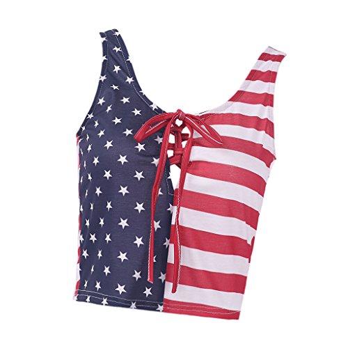 分注する西プランテーションFlameer キャミソール ベスト タンクトップ 3D アメリカの旗 レディース 綿混紡素材 無袖 通気性 軽量 全5サイズ