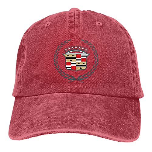 Men Vintage Adjustable Cap Customized General Motors Cadillac Logo Funny Strapback Cap, Red ()