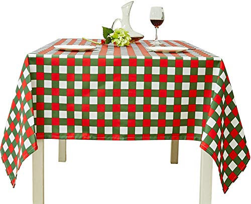 Biscaynebay Printed Checkered Table Cloth, Oil and Water Resistant Fabric Tablecloth, Plaid Green/Red, 52 by 70 Inch Rectangle -