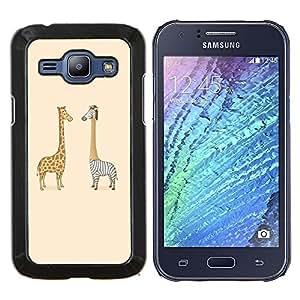 """Be-Star Único Patrón Plástico Duro Fundas Cover Cubre Hard Case Cover Para Samsung Galaxy J1 / J100 ( Divertido cebra y la jirafa"""" )"""