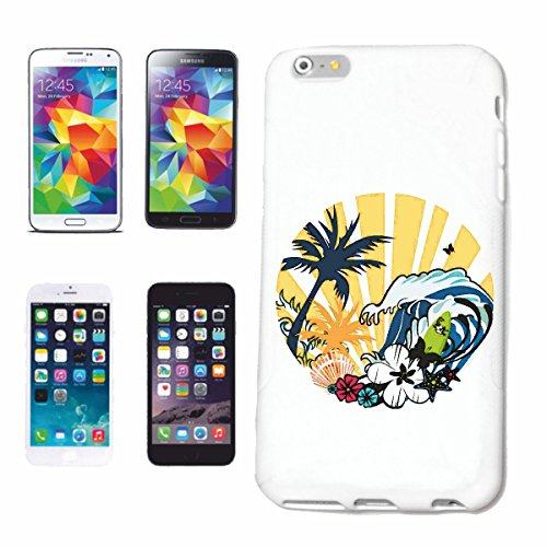 "cas de téléphone iPhone 6S ""PARADISE BEACH SURFING SURF LONGBOARD ONDES DE SURF SHOP DEBUTANT"" Hard Case Cover Téléphone Covers Smart Cover pour Apple iPhone en blanc"