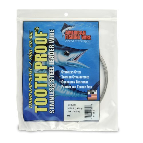 American Fishing Wire Tooth Proof Stainless Steel Single Strand Leader Wire, Size 18, Bright Color, 325 Pound Test, 30-Feet - 18 Bright Wire