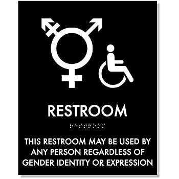 Transgender Symbol Restroom Sign 8 X 10 With Braille Ada Compliant Storm Gray