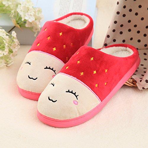Inverno fankou paio di pantofole di cotone femmina spessa coperta calda antiscivolo home soggiorno pantofole uomini e ,39-40,M83 in rosso