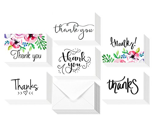 Bulk Floral Thank You Card Set by Canwryn - Floral Greeting Cards for All Occassions - 36 Assorted Floral Note Cards - Blank inside - Matching Envelopes (not (Occassion Note Cards)