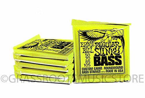 Bulk 6 Sets Ernie Ball Regular Slinky (50-105) Gauge Electric Bass Guitar Strings (Bulk Bass Strings)