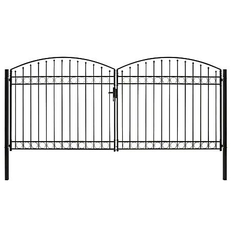 vidaXL Cancela Valla Doble Puerta con Arco Puerta Jardín Accesorios para Entrada Funcional Moderna Estable Duradera Práctica 400x200cm Acero Negro: Amazon.es: Bricolaje y herramientas