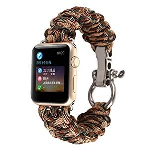KFSO NEW Sports Nylon Rope Survival Bracelet Watch Band Belt For Apple Watch Series 3 42MM (D)