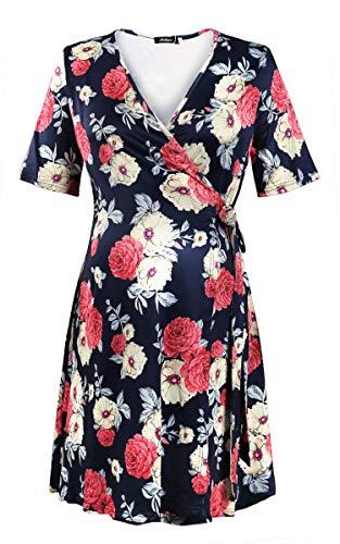 Molliya Maternity Floral Dress Short Sleeve Wrap Empire Waist Midi Dress with Belt Navy