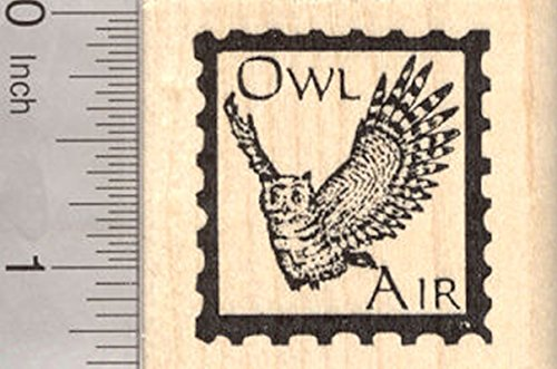 Owl Air Faux Post Rubber Stamp ()