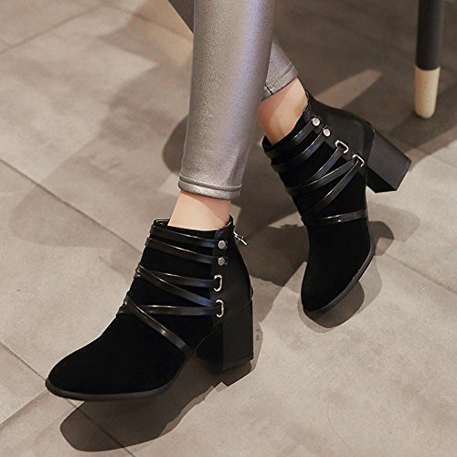 Stripe Western heel Womens Black Boots Shoes Mee high Ankle Block BqOXFw