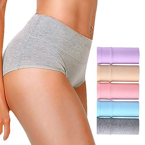 AIGIRLS Women's Cotton Underwear Panties, Soft Mid-High Waist Breathable Underwear,Tummy Control Comfort Hipster 5 Pack (Light-Color, Small/Size 5) ()