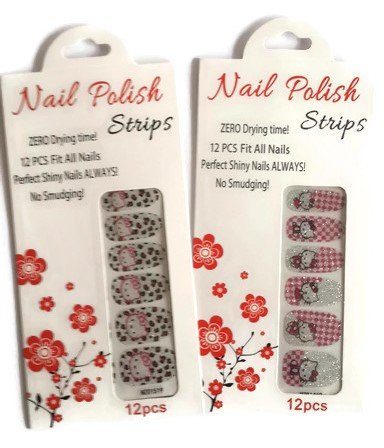 Nail polish strips - cute cartoon design (2 of 12 pcs in a set) (How To Crackle Paint)