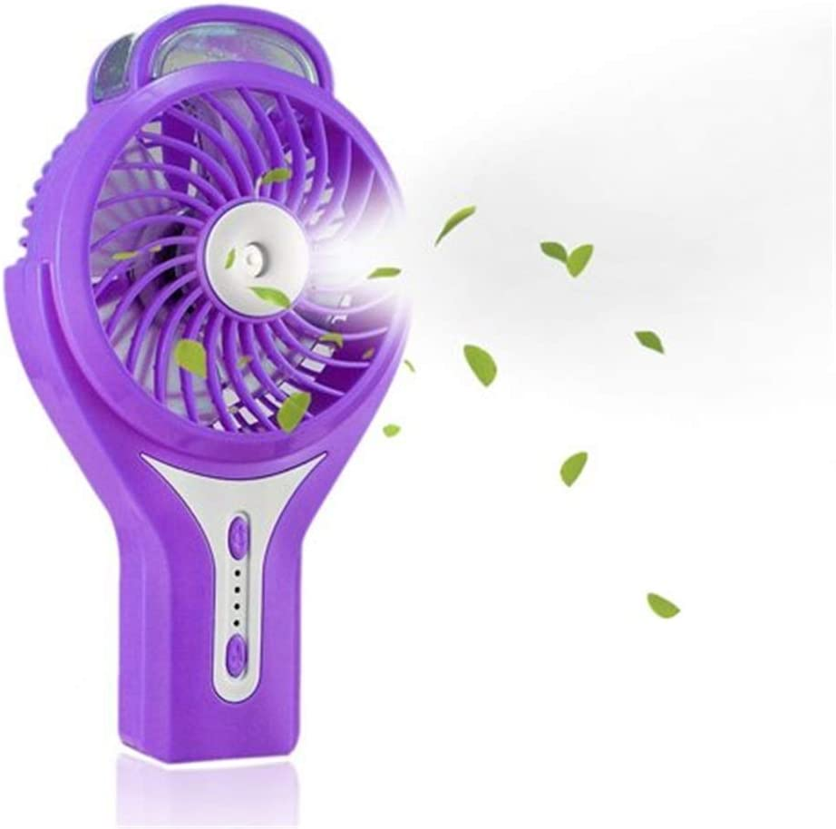 Color : Purple USB Table Desk Personal Fan Misting Fan Mini USB Handheld Humidifier Mist Water Spray Air Conditioning Moisturizing Fan Portable Face for Home Office Table