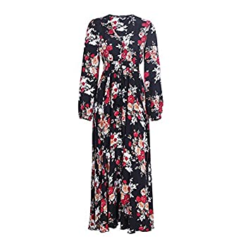 Eric Hug Elegant Floral Print Long Dress Women V Neck Long Sleeve Drawstring Button Autumn Maxi