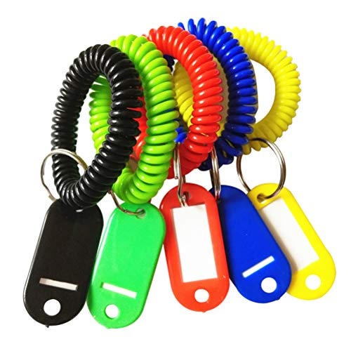 TOYMYTOY Wristband Keychains Key Tags,Plastic Coil Stretch Elastic Spring Spiral Bracelet Key Ring Chain for Gym Pool ID Badge Pet and Luggage Bag,5pcs