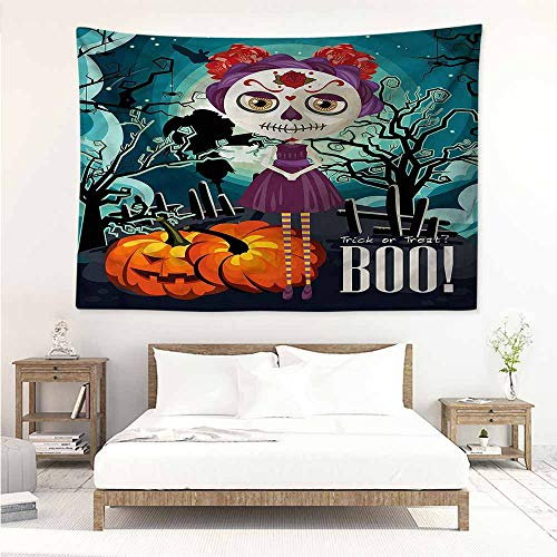 Sunnyhome DIY Tapestry,Halloween Girl Sugar Skull Makeup,Beach Tapestry,W59x39L ()