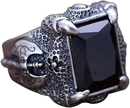 de plata de ley para hombre dise/ño de drag/ón Anillo vintage Jade Angel Jewelry