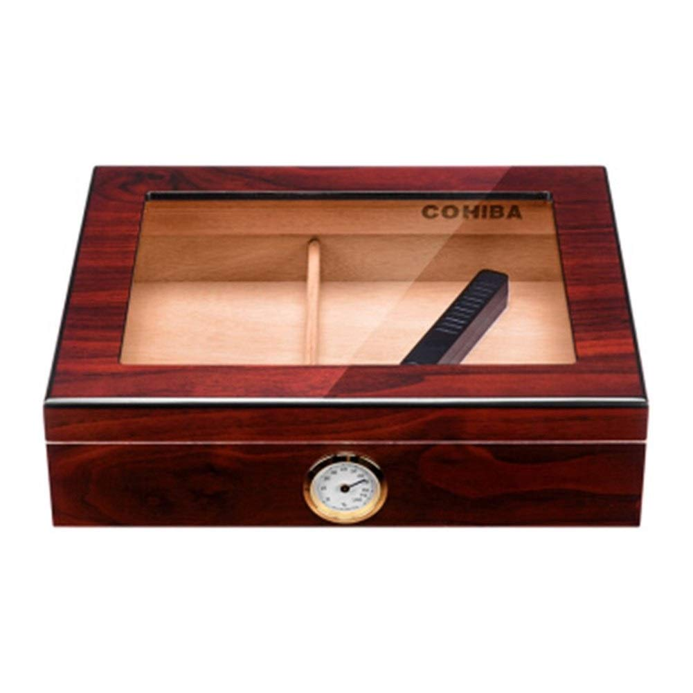 HXSD Cigar Box, Moisturizing Fragrant Cedar Wood, Transparent Sunroof Built-in Humidifier About 35 Sticks (Color : C)