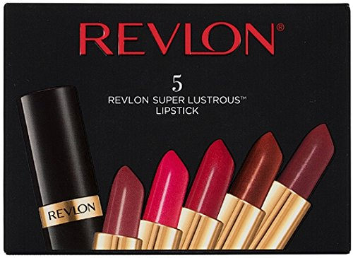 Revlon Super Lustrous Lipstick, 5 Piece Lip Kit Gift Set (Blushed, Softsilver Rose, Wine with Everything (Pearl), Coffee Bean, Rum Raisin)