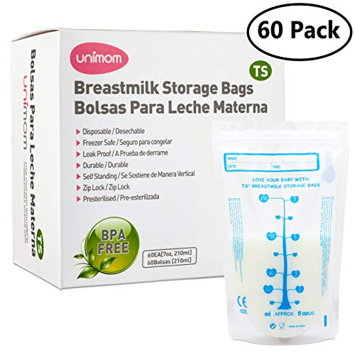 60 Thermal Sensor Breast Milk Bags  Shows when Milk is Frozen, Cold or Hot - Self Standing, Zip Top, Leak Proof, Freezer Safe  Pre Sterilized - BPA Free  7oz  by Unimom