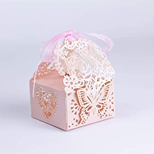 KAZIPA 50pcs Laser Cut Wedding Favor Boxes, Butterfly Anniverary Party Wedding Favor Gift Candy Boxes Candy (Pink Butterfly)