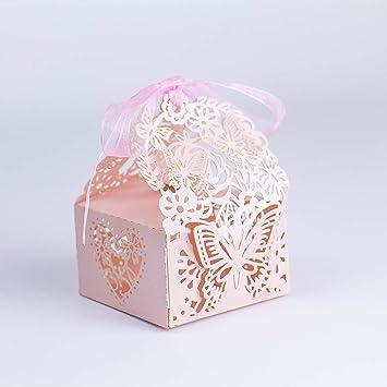 Amazon.com: KAZIPA 50 cajas de regalo con corte láser, cajas ...