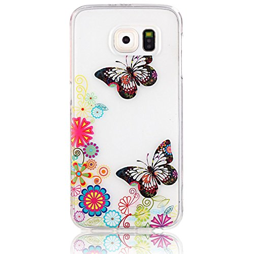 Galaxy S7 Edge Case,Vandot Premium Colorful Printed [Non-slip] [Scratch-resistant] Slim Fit Pattern Flexible Soft TPU Silicone Bumper Clear Crystal Transparent Back Cover Phone Case For Samsung Galaxy S7 Edge SM-G935F-Butterfly Flower Blossom