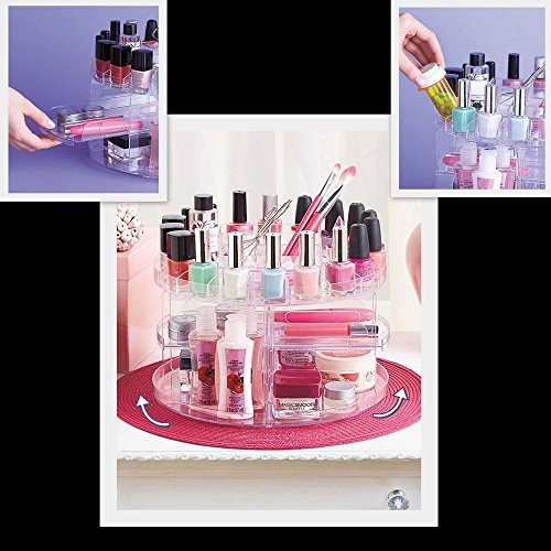UPC 840102154542, Versatile 2 Tier Spinning Cosmetic Carousel Organizer - Holds up to 200 items