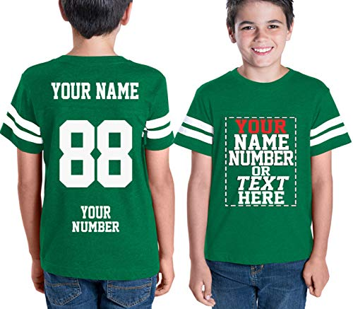 Custom Cotton Jerseys for Youth and Teens - Make Your OWN Jersey T Shirts - Personalized Team Uniforms for Casual Outfit Green