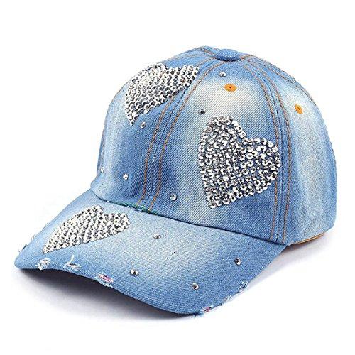 LKXHarleya Women Bling Heart Pattern Crystal Rhinestone Baseball Caps Vintage Distressed Washed Denim Trucker Hats Adjustable