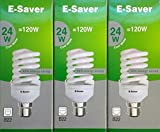 Pack of 3, E-Saver CFL Full Spiral, 24w = 120 watt, Cool White 4200k, Compact Fluorescent Lamp, Bayonet Cap (BC, B22, B22d) 1450 Lumen, T2, 80%-85% Energy Saving Light Bulb, Flicker Free, 10,000 Hours Life Time